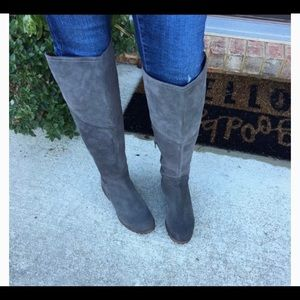 Lucky Brand Over the Knee Suede Gray Boots size 8